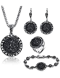4 PCS Black Jewelry Set for Women Diamond Drusy Agate...