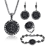 LUYUAN JEWELRY 4 Packs Hoop Pendant Simulated Diamond Sparkly Jewelry Sets with Bracelet - Ring Size #9