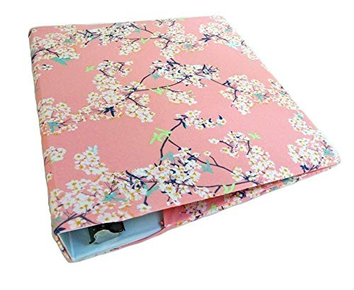 Cherry Blossoms Stretch Fabric Binder Cover for 2 Inch to 3 Inch Wide 3 Ring Binder - 2 Inch Album