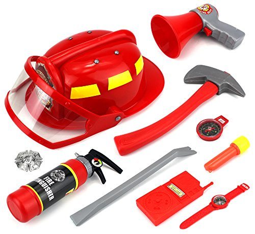Real Heroes Firefighter Pretend Play Children's Toy Fire Fighter Dress Up Playset w/ Working Megaphone, (Firefighter Kids)