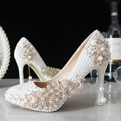 Handmade Bird Shoes Tassel Pearls Bride Prom Wedding Sandals 14Cm VIVIOO Heel White Wedding Metal Diamond Crystal Shoes 5 Crystal Pointed Shoes Heels New FE7wZEqdc