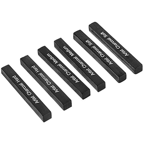 Looneng Square Compressed Charcoal Sticks Assorted, Soft, Medium, Hard, Pack of 6