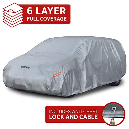 Motor Trend OV-641 TrueShield Waterproof SUV & Van Cover-Heavy Duty Outdoor Fleece-Lined Sonic Coating-Ultimate 6 Layer Protection (L-max Length 200