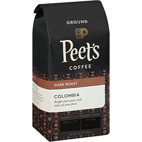 Peet's Coffee, Colombia, Dark Roast, Ground Coffee, 12 oz. Bags (Pack of 2), Single-Origin Coffee, Balanced, Bright, Sweet Dark Roasted Coffee from Colombia, Full Bodied & Flavorful