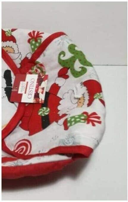 BUYSTAR Cestino Porta Pane portapane Natalizio cestini portapane Porta Pane in bamb/ù ricoperto con Stoffa Natalizia Ornamento Decorazione tavola di Natale