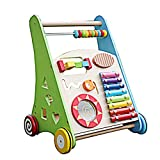 Meen Baby Walker, Wooden Baby Stroller Baby Early Education Puzzle Multi-Function Walking Car Toy
