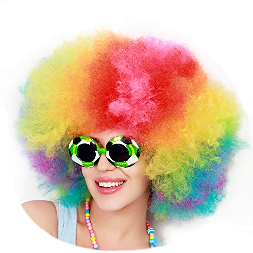 Kurop Unisex Afro Wig Black Wig Fancy Costume Funny Wig Party Costume (Colorful)