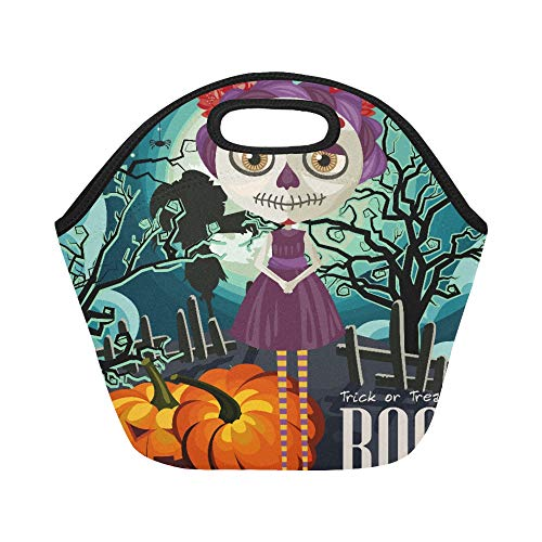 Insulated Neoprene Lunch Bag Happy Halloween Vector Invitation Card With Zombie Large Size Reusable Thermal Thick Lunch Tote Bags For Lunch Boxes For Outdoors,work, Office, School]()