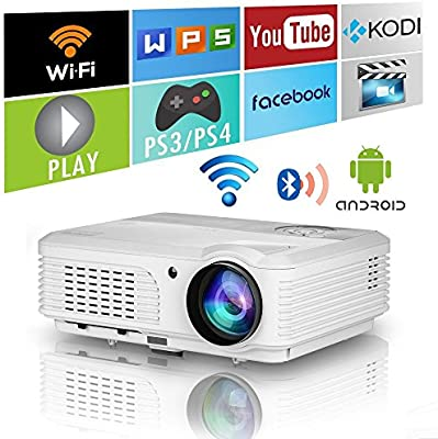LED WiFi Proyector Bluetooth Teatro en casa HD 1080P Soporte Inalámbrico Proyector de Video Android 4400Lumen WiFi Pantalla LCD TV para Juegos Al Aire ...