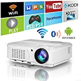 LED LCD WXGA Smart HD HDMI Home Theater Outdoor Bluetooth WiFi Projector Portable Wireless Android 1080P Airplay Support Movie Video Game Projector for Apple iOS iPhone Basement DVD Player