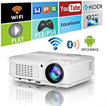 2018 LED LCD WXGA Smart HD HDMI Home Theater Outdoor Bluetooth WiFi Projector Portable Wireless Android 1080P Airplay Support Movie Video Game Projector for Apple iOS iPhone Basement DVD Player