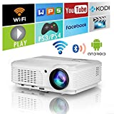Smart HD HDMI Home Theater Outdoor Bluetooth WiFi Projector 3600 Lumens Portable Wireless LED LCD WXGA Android 1080P Airplay Movie Video Game Projector for Apple iOS iPhone Android Phones DVD Player