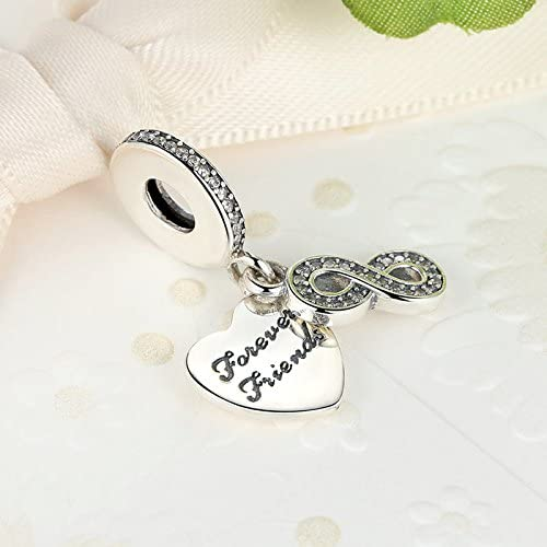 Soulove Forever Friends Dangle 925 Sterling Silver Bead for Snake Chain Charm Bracelet
