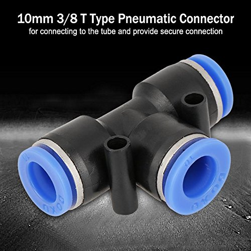 T-St/ück 10 St/ück Rohrverschraubung 10mm 3//8 T-Typ Pneumatische Verbindungsst/ück Air Line Fittings Tube Joint