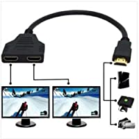 1080P HDMI Male to Dual HDMI Female 1 to 2 Way Splitter Cable Adapter Converter for DVD Players/PS3/HDTV/STB and Most LCD Projectors (Black)