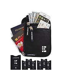 zero Grid cuello cartera w/RFID blocking- Concealed Funda de viaje & Passport Soporte