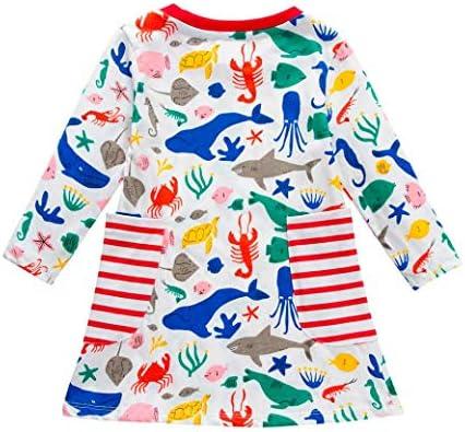 KaiCran Clothing Baby Girl Newborn,Little Girls Cotton Dress Long Sleeves Casual Autumn Cartoon Ocean Shark Print Dress
