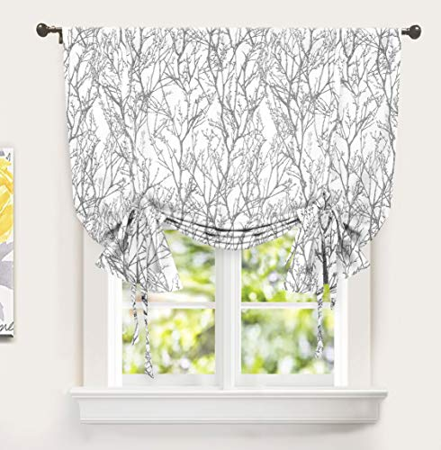 DriftAway Tree Branch Botanical Pattern Painting Tie Up Curtain Room Darkening Thermal Insulated Window Curtain Adjustable Balloon Curtain for Small Window Rod Pocket 1 Panel 45 Inch by 63 Inch Gray (Curtains Cheap Tie Up)