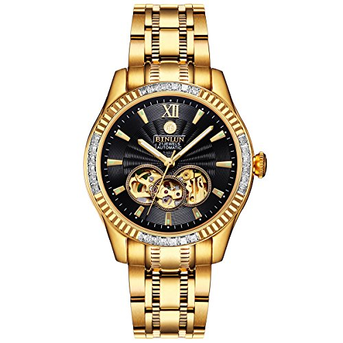 BINLUN Waterproof Automatic Men's Watch 18K Gold-Plated Luminous Black Skeleton Dial ()