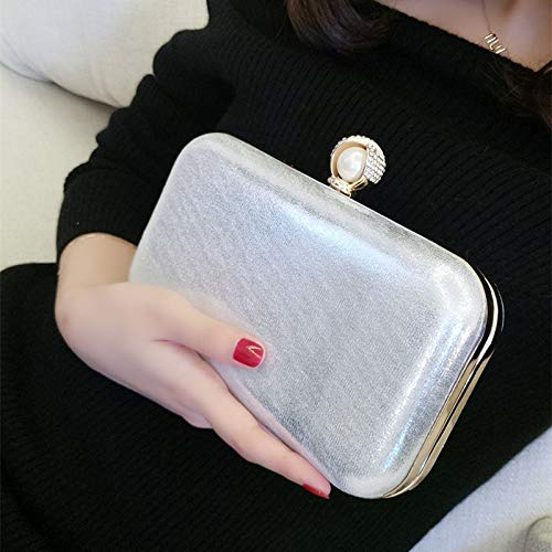 Celebrity'S Silver Hand Bag Dinner Chain Shoulder Satchel Pearl JUZHIJIA Single Female Leather Square Diamond Bag Bag d6qcag