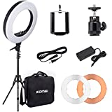 ZOMEi Camera Ring Light, 55W 5500k Output 18-inch SMD LED Dimmable Shooting Photography Video Continuous Lights, Plastic Color Filter with Portable Carrying Bag and Stand