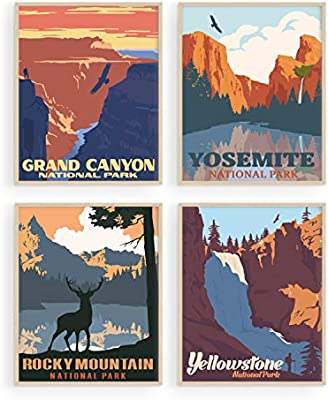 Amazon Com Vintage National Park Posters Set By Haus And Hues National Parks Art Prints Nature Wall Art And Mountain Print Set Abstract Prints Of Mountain Wall Art Mountain Decor