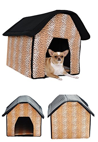 1 Set Lordly Popular Indoor Pet House Portable Bed Soft and Warm Fabric Cat Furniture Style Leopard Print