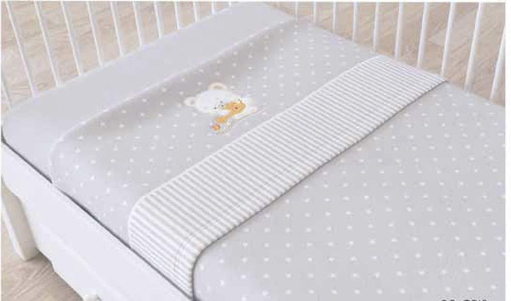 Juego de sábanas de sedalina bordada para cuna - 3 piezas - Mod. BIRI (Beige) B&G