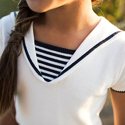 Hope and Henry Girls White Sailor Sweater Top Made With Organic Cotton by Hope & Henry (Image #5)