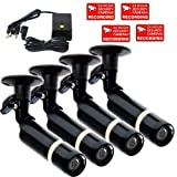 VideoSecu 4 Pack Bullet Security Cameras Built-in SONY CCD 3.6mm Lens Weatherproof Outdoor CCTV DVR Home Surveillance System Camera with Bonus Power Supply M4R Review
