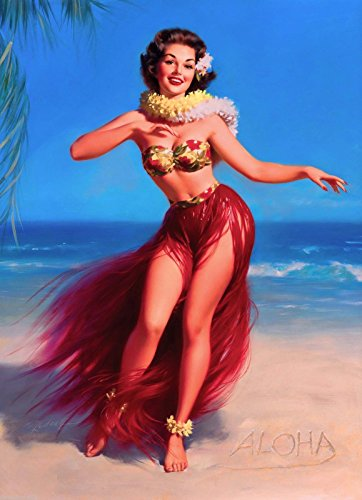 1940s Pin-Up Girl Aloha Hula Hawaii Hawaiian Picture Poster Print Pin Up Art