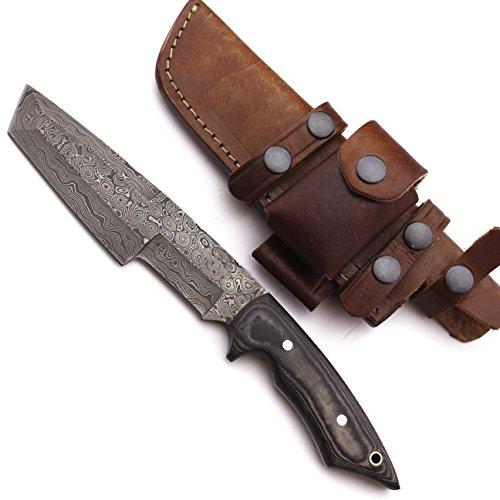 WolfKlinge DCX17-56 Handmade Damascus Steel Hunter Tracker, Micarta Handle, with Cowhide Leather Sheath …