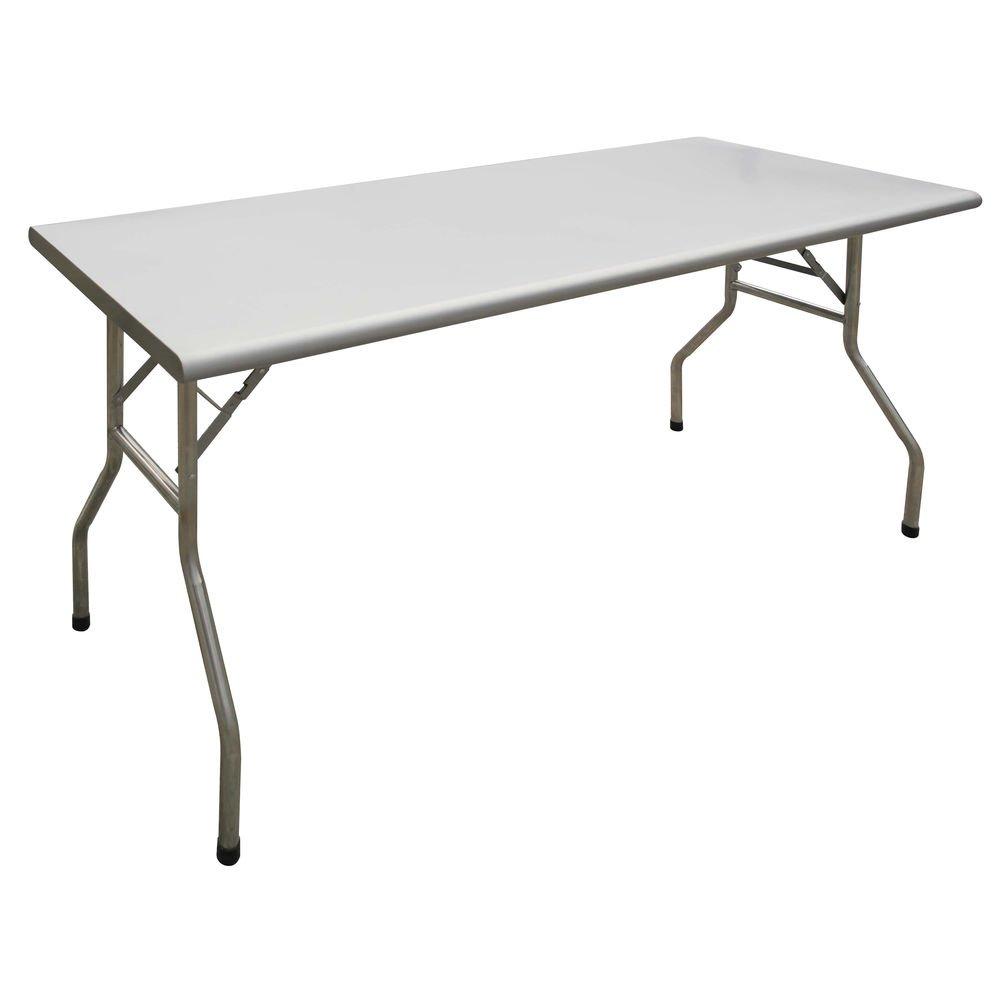 HUBERT Rectangular Stainless Steel Folding Table - 72''L x 30''W x 30 7/8''H
