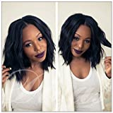 Dream Beauty Brazilian Human Hair Natural Color Lace Front Wigs 130% Density Bob Wig with Baby Hair (12'', Full Lace Wig)