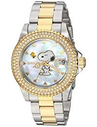 Invicta Women's Snoopy Character 200m Two Tone Stainless Steel Watch 24810