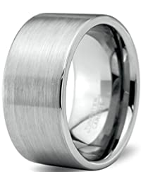 Tungsten Wedding Band Ring 12mm for Men Women Comfort Fit Pipe Cut Brushed Polished Lifetime Guarantee