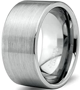 Tungsten Wedding Band Ring 12mm for Men Women Comfort Fit Pipe Cut Brushed Polished Size 4