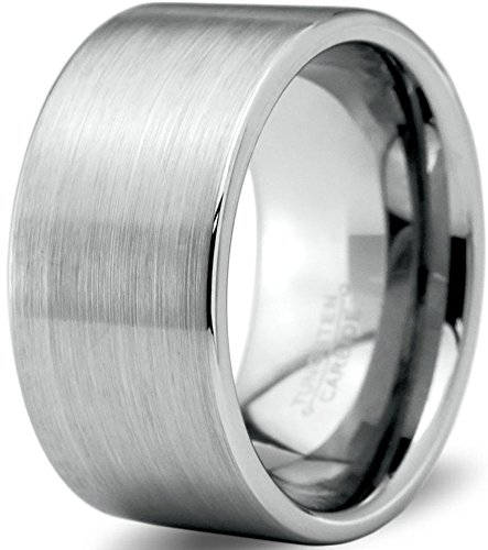 [Tungsten Wedding Band Ring 12mm for Men Women Comfort Fit Pipe Cut Brushed Polished Size 11] (12mm Band Ring)