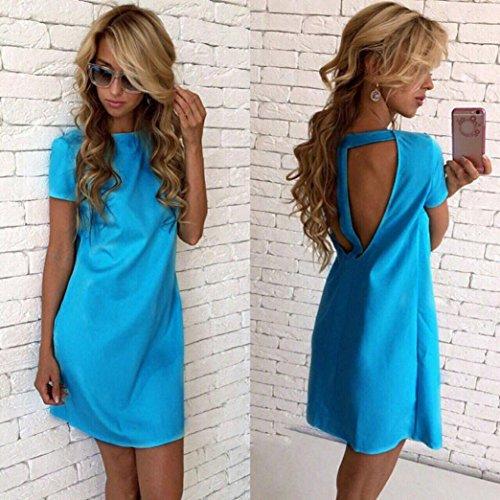 Kleid Transer® Damen Elegant Partei Kleider Polyester Kurzarm ...