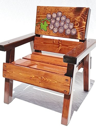 Kids Wood Chair with Arms, Engraved and Painted Grapes, Heirloom Gift, Patio or Garden Furniture, Indoor / Outdoor