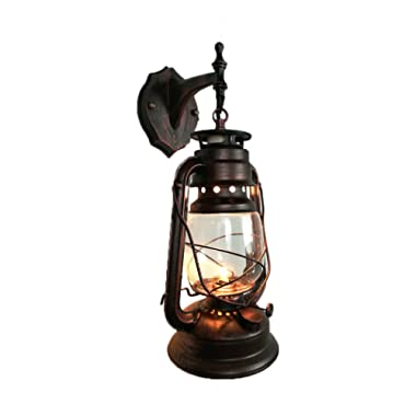 Yue Jia Rustic Lantern Wall Mounted Light Industrial Vintage Style Wall Sconce Glass Shade Lighting Fixture for Bedroom Beside Hallway Living Room Restaurant (1 Light) W7 x H15