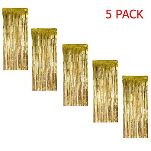 MerryNine 5 Pack Metallic Foil Fringe Curtain, 3 ft x 8 ft DIY Tassel Garland Banner for Wedding, Baby Shower, Event & Party Supplies Decoration (Gold) ()