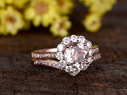 2pcs Wedding Ring Set,7mm Round Cut 1.2ctw VS Pink Morganite 14k Rose Gold Forever Classic Charles & Colvard Moissanite Halo Half Eternity Marquise Milgrain Matching Bridal Engagement Ring Sets