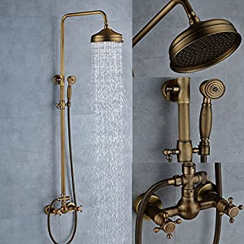 Senlesen Antique Brass Bathtub Mixer Faucet 8 Inch Rainfall Shower Head Handheld Sprayer