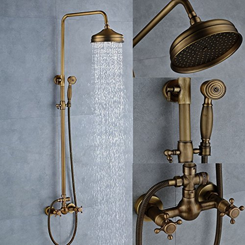 Senlesen Antique Brass Bathtub Mixer Faucet 8-inch Rainfall Shower Head + Handheld Sprayer