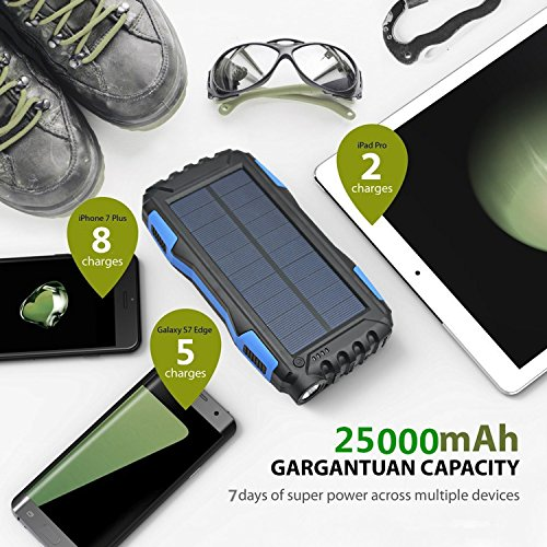 Solar Charger Kiizon 25000mAh Outdoor Portable Chargers Solar Power Bank Waterproof/Shockproof Dual USB Port External Backup Battery Powered Pack with Flashlight For iPhone,ipad,Smart Cell Phone,More by kiizon (Image #3)