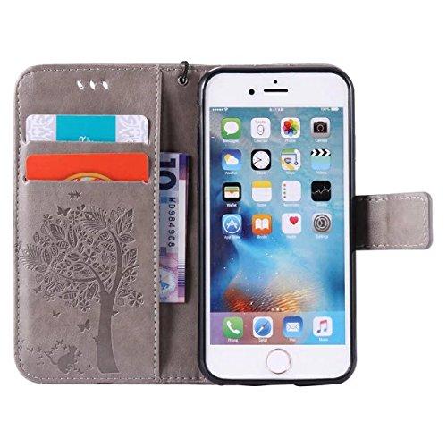 Solid Color Premium PU Leather Case Embossing Pattern Flip Stand Case couverture avec carte et Cash Slots pour iPhone 6 6s 4,7 pouces ( Color : Gray )