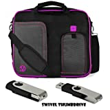 PURPLE TRIM BLACK Pindar Durable Water-Resistant Nylon Protective Carrying Case Messenger Shoulder Bag For ASUS VivoBook Multi Touch S400CA 14