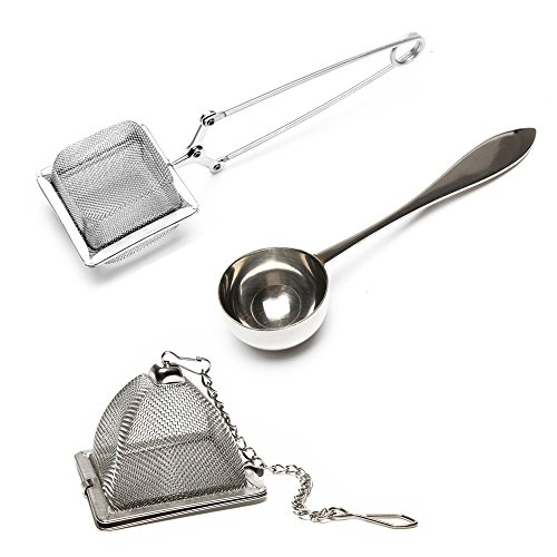 Best Tea Infuser (Set of 2 Infusers & 1 Tea Spoon - 100% Stainless Steel, HIGHEST QUALITY Tea Filer, Tea Strainer, - Square Tea Infuser, Triangle Tea Infuser & Perfect Serve Tea Spoon - 3 Piece - Durable Tea Maker​ ​)