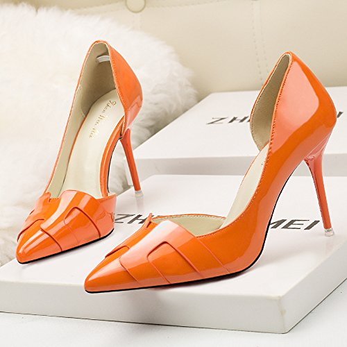 La versión coreana de tacones altos tacones finos zapatos con tacón alto fino perforado color sólido boca superficial Orange